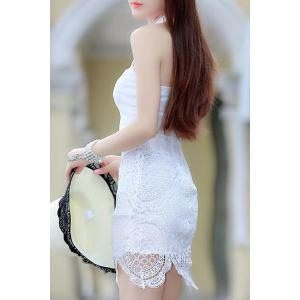 Trendy Keyhole Neck Lace Splicing Bodycon Dress For Women -