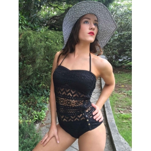 Alluring Halter See-Through Solid Colour Women's Swimwear - BLACK S