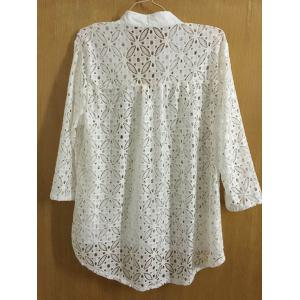 Fashionable Stand Collar 3/4 Sleeve Hollow Out Button Design Women's Cover-Up -