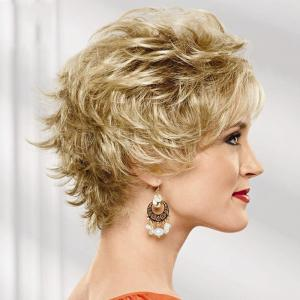 Shaggy Curly Capless Stylish Short Side Bang Real Human Hair Wig For Women -