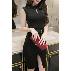 Trendy Keyhole Neckline Sleeveless Solid Color Slit Dress For Women