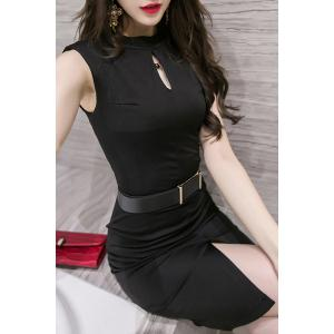 Trendy Keyhole Neckline Sleeveless Solid Color Slit Dress For Women - BLACK M