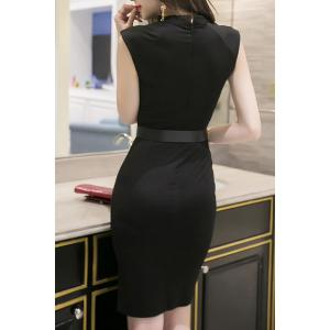 Trendy Keyhole Neckline Sleeveless Solid Color Slit Dress For Women - BLACK L