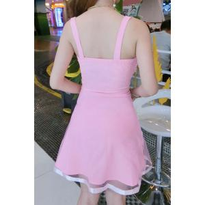 Trendy Strappy A-Line Mesh Dress For Women -