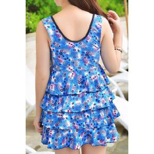 Elegant U-Neck Sleeveless Ruffled Layerd Women's Swinsuit - BLUE 4XL