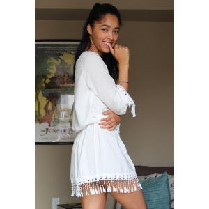 Sweet Scoop Neck Long Sleeve White Women's Cover Up -