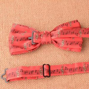 Stylish Musical Notes Pattern Red Bow Tie For Men -