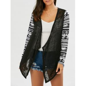 Collarless Open Front Asymmetric Cardigan