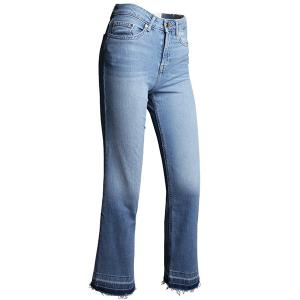 Stylish Mid Waist Blue Zipper Fly Ankle Length Jeans For Women -
