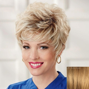 Ladylike Side Bang Capless Shaggy Short Curly Real Natural Hair Wig For Women