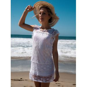 Scoop Collar Sleeveless See-Through Crochet Tunic - WHITE S