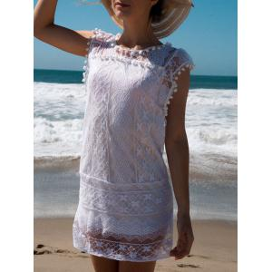 Scoop Collar Sleeveless See-Through Crochet Tunic