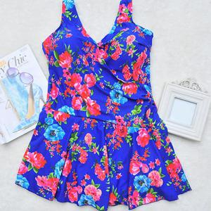 V-Neck Sleeveless Floral Print Sun Swimsuit Dress - BLUE 3XL