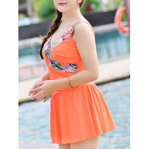 Sweet V-Neck Patchwork Flounce One-Piece Women's Swimsuit - ORANGE 3XL