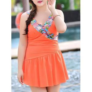 Sweet V-Neck Patchwork Flounce One-Piece Women's Swimsuit