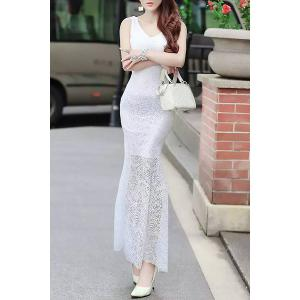 Fitted Lace Mermaid Maxi Formal Wedding Dress - White - M