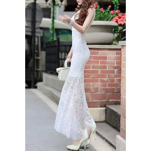 Fitted Lace Mermaid Maxi Formal Wedding Dress - WHITE L