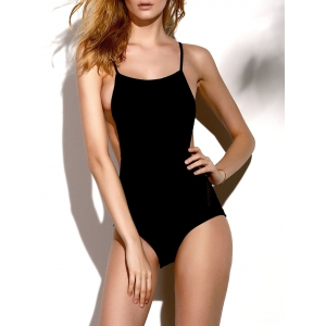 Stylish Straps Backless Solid Color Women's One-Piece Swimwear