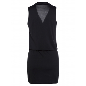 Casual Plunging Neck Black Sleeveless Dress For Women - BLACK XL