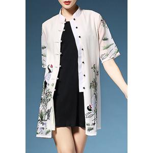 Casual Mandarin Collar Crane Embroidered Single-Breasted Dress For Women -