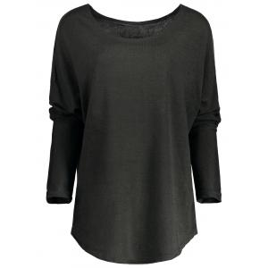 Women's Stylish Scoop Neck Asymmetrical Long Sleeve Sweater - Deep Gray - Xl