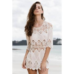 Stylish Round Neck 3/4 Sleeve Openwork Appliqued White Cover-Up