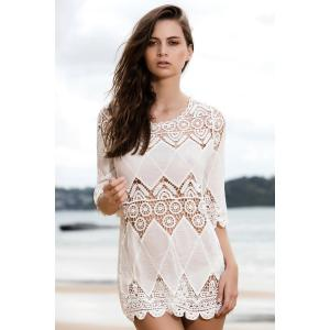 Stylish Round Neck 3/4 Sleeve Openwork Appliqued White Cover-Up -