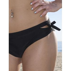 Sexy Halter Solid Color Hollow Out Bikini Set For Women - BLACK L