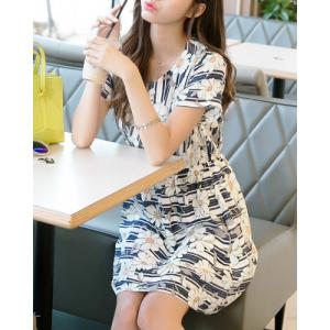 Casual Scoop Collar Short Sleeve High Waist Pleated Dress For Women -