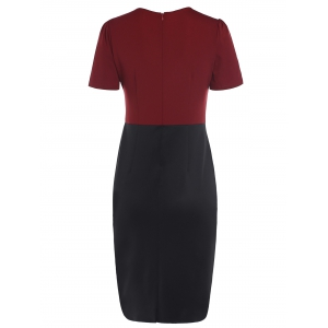 OL Style Color Block Knee-Length Short Sleeve Dress For Women -