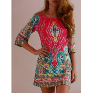 Bohemian Off The Shoulder African Style Print Dress - Colormix - M