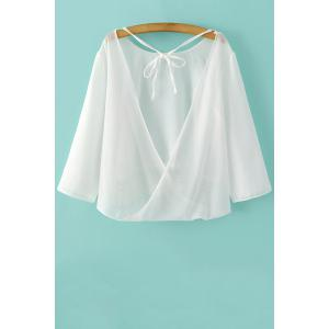 Trendy 3/4 Sleeve Lace Spliced Back Cut Out Blouse For Women -