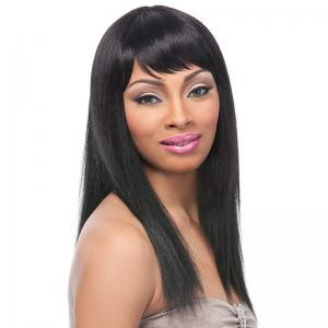 Gorgeous Silky Straight Side Bang Fashion Long Capless Real Human Hair Wig For Women -