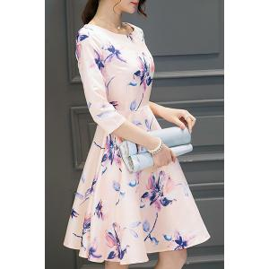 Round Neck Floral Print Holiday Dress - SHALLOW PINK S