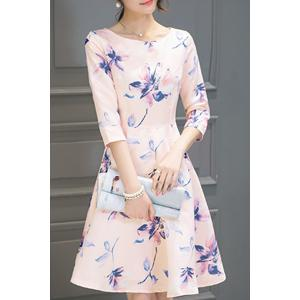 Round Neck Floral Print Holiday Dress - Shallow Pink - 2xl