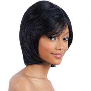 Ladylike Inclined Bang  Human Hair Stylish Straight Short Wig -