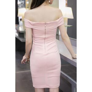 Stylish Off The Shoulder Solid Color Dress For Women -