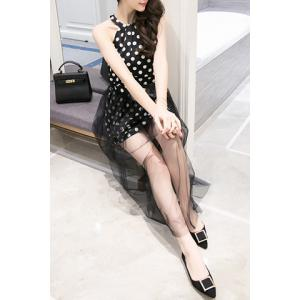Stylish Polka Dot Tank Top + Bowknot Mesh-Overlay Skirt Twinset For Women -