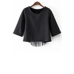 Stylish Round Neck Half Sleeve Black Tassels Cut Out Women's T-Shirt