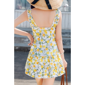 Floral Print Flounced One-Piece Dress Swimwear For Women - YELLOW XL