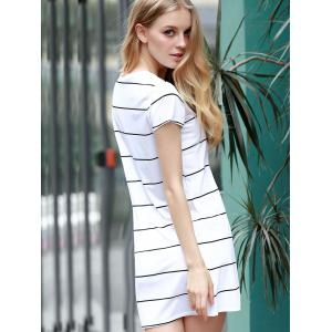 Trendy Round Collar Short Sleeve Striped Loose-Fitting Women's Dress - WHITE M