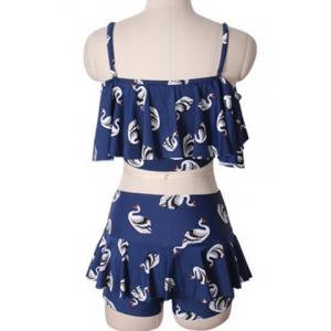 Sweet Spaghetti Strap Swan Print Two Piece Swimsuit For Women -