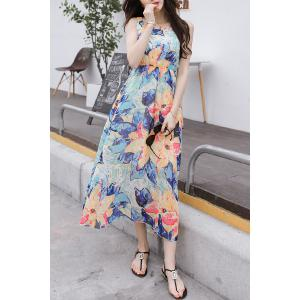 Casual Square Collar Sleeveless High Waist Flower Print Dress For Women -