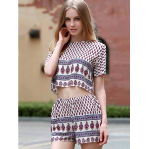 Chic Round Collar Short Sleeve Crop Top + Elastic Waist Printed Shorts Women's Twinset - DEEP RED M