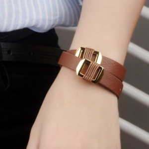 Layered Faux Leather Hollow Out Bracelet - ORANGE