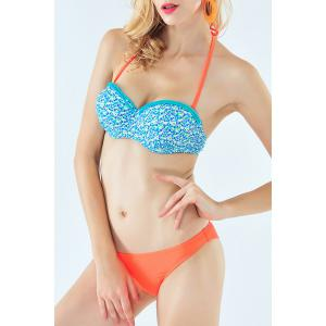 Fresh Style Halter Neck Tiny Floral Print Braided Underwire Bikini Set For Women - BLUE S