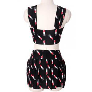 Sweet Square Collar Lipstick Print Two Piece Swimsuit For Women -
