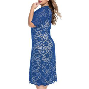 Elegant Half Sleeves V-Neck Lace Openwork Women's Dress -