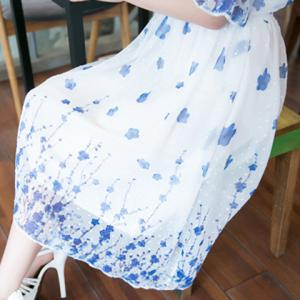 Casual Scoop Collar Half Sleeve Blue Flower Print Dress For Women -