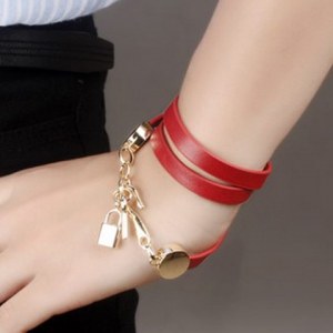 Faux Leather Multilayered Key Bracelet - RED